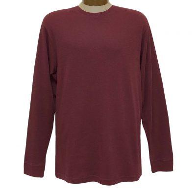 Men's Woodland Trail By Palmland Long Sleeve Birdseye Crew Neck Tee Shirt #5900-225, Wine