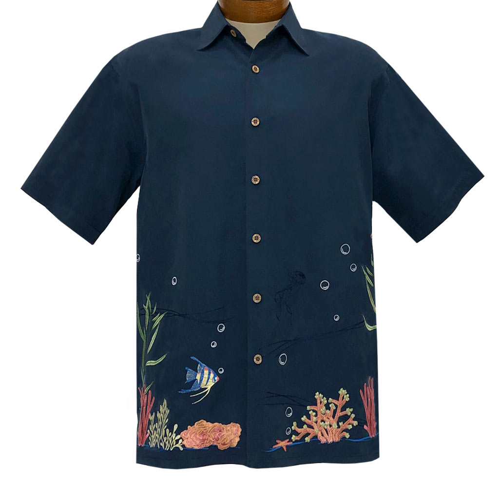 Men's Bamboo Cay Short Sleeve Embroidered Shirt, Coral Harmony #WB2027 Navy
