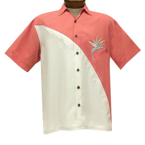 Men's Bamboo Cay Short Sleeve Embroidered Shirt, Crescent Bird Of Paradise #WB5 Salmon