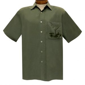 Men's Bamboo Cay Short Sleeve Embroidered Shirt, Martini Olives #WB10060 Olive