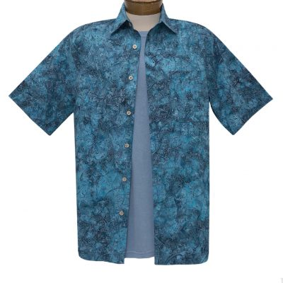 Men's Basic Options Batik Short Sleeve Cotton Shirt, Leaves #61751-3 Blue