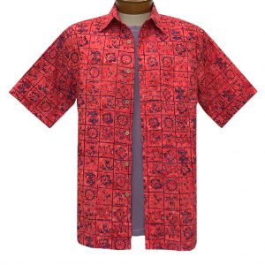 Men's Basic Options Batik Short Sleeve Cotton Shirt, Tropical Squares #62148-5 Red