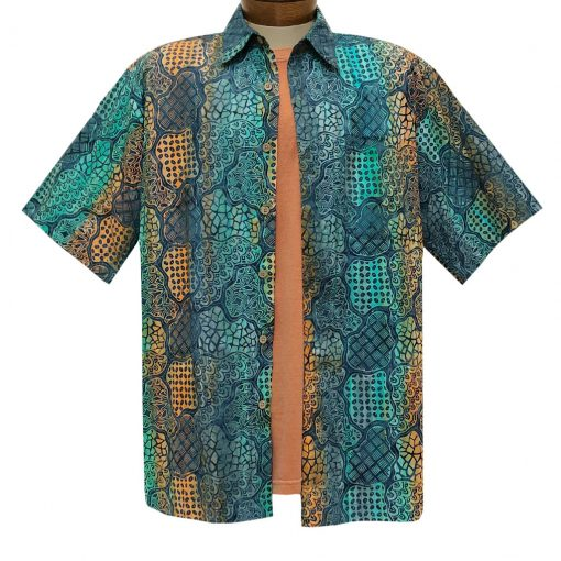Men's Basic Options Batik Short Sleeve Cotton Shirt, Multiple Pattern #62140-3 Blue Multi