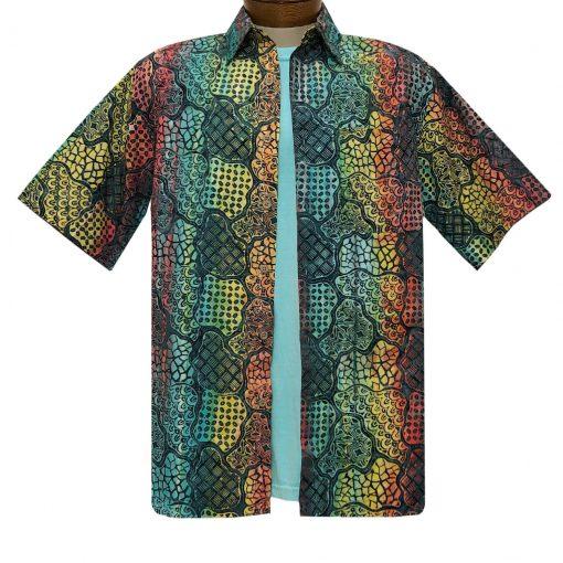 Men's Basic Options Batik Short Sleeve Cotton Shirt, Multiple Pattern #62140-5 Red/Blue Multi