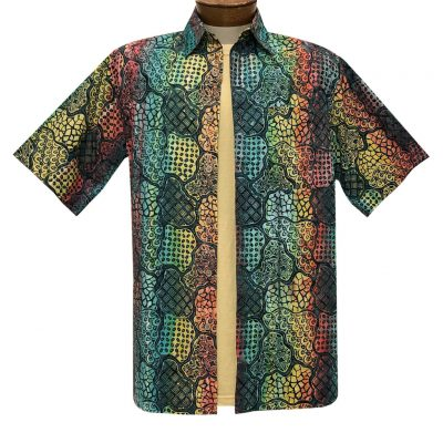 Men's Basic Options Batik Short Sleeve Cotton Shirt, Multiple Pattern #62140-5 Red/Blue Multi