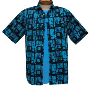 Men's Basic Options Batik Short Sleeve Cotton Shirt, Ocean Fossil #62149-3 Blue/Black