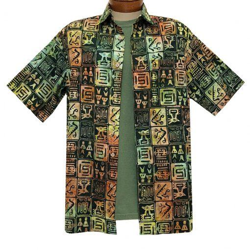 Men's Basic Options Batik Short Sleeve Cotton Shirt, Squares #62142-6 Olive Multi