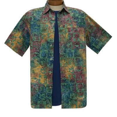 Men's Basic Options Batik Short Sleeve Cotton Shirt, Tropical Squares #62145-3 Blue Multi