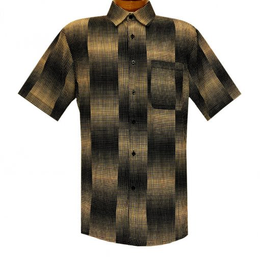 Men's Bassiri Short Sleeve Button Front Sport Shirt With A Chest Pocket #5041 Black/Gold