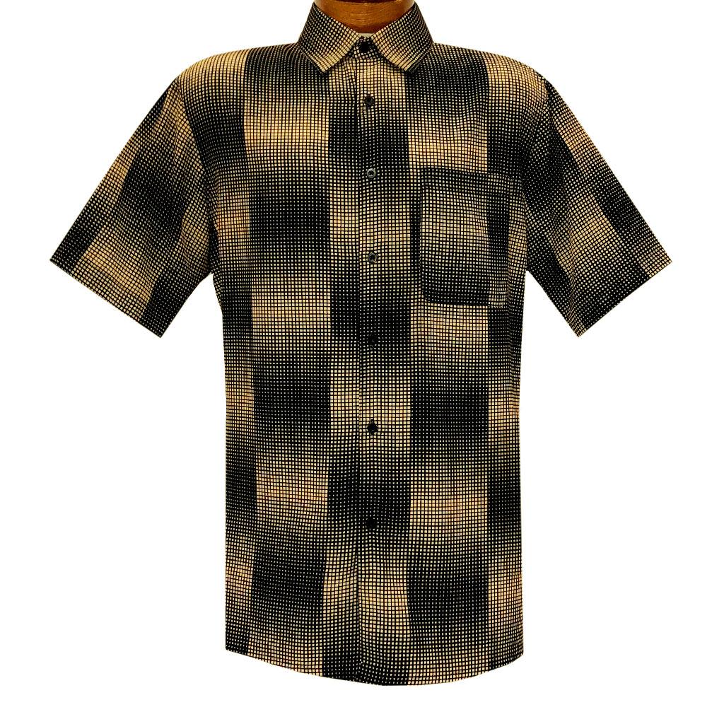 Men's Bassiri Short Sleeve Button Front Sport Shirt With A Chest Pocket #5041 Black/Gold