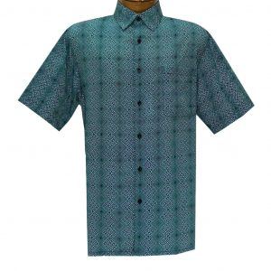Men's Bassiri Short Sleeve Button Front Sport Shirt With A Chest Pocket #63281 Teal