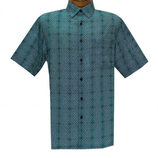 Men's Bassiri Short Sleeve Button Front Sport Shirt With A Chest Pocket #63281 Teal