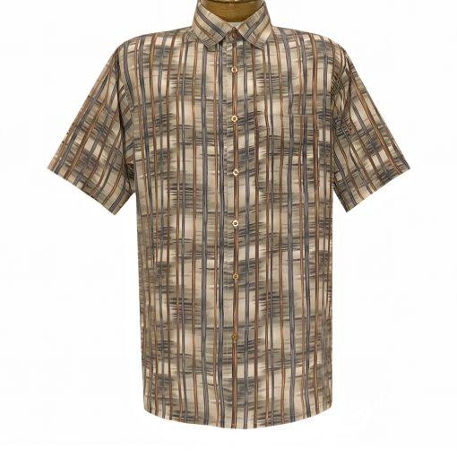 Men's Bassiri Short Sleeve Button Front Sport Shirt With A Chest Pocket #63321 Beige