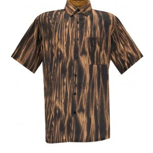 Men's Bassiri Short Sleeve Button Front Sport Shirt With A Chest Pocket #63341 Espresso