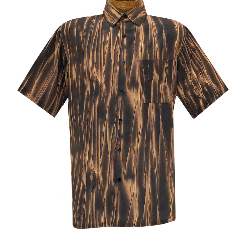 Men's Bassiri Short Sleeve Button Front Sport Shirt With A Chest Pocket #63341 Espresso