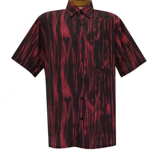 Men's Bassiri Short Sleeve Button Front Sport Shirt With A Chest Pocket #63351 Red