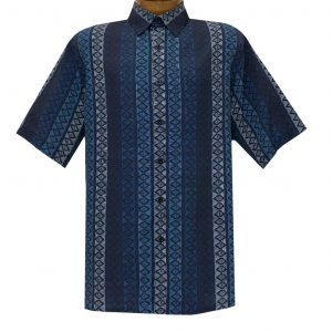 Men's Bassiri Short Sleeve Button Front Sport Shirt With A Chest Pocket #63561 Navy