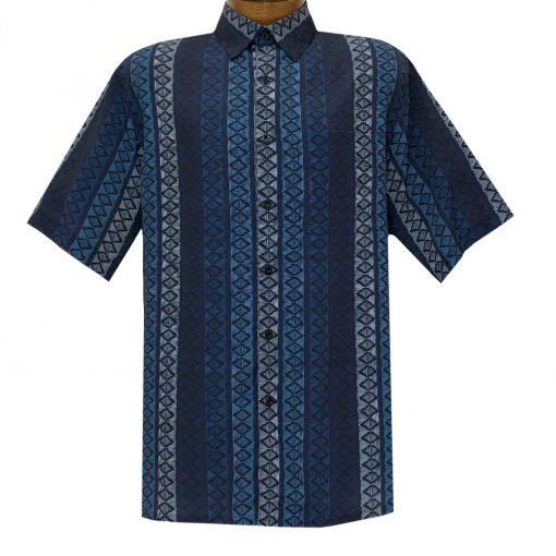 Men's Bassiri Short Sleeve Button Front Sport Shirt With A Chest Pocket #63561 Navy