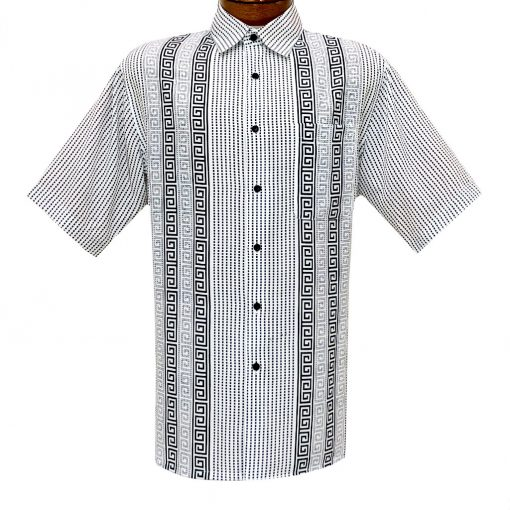 Men's Bassiri Short Sleeve Button Front Sport Shirt With A Chest Pocket #63691 White/Black