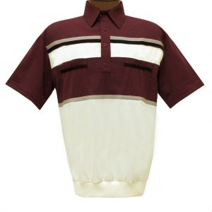 Men's Classics By Palmland Short Sleeve Horizontal Pieced Knit Banded Bottom Shirt #6010-120 Burgundy