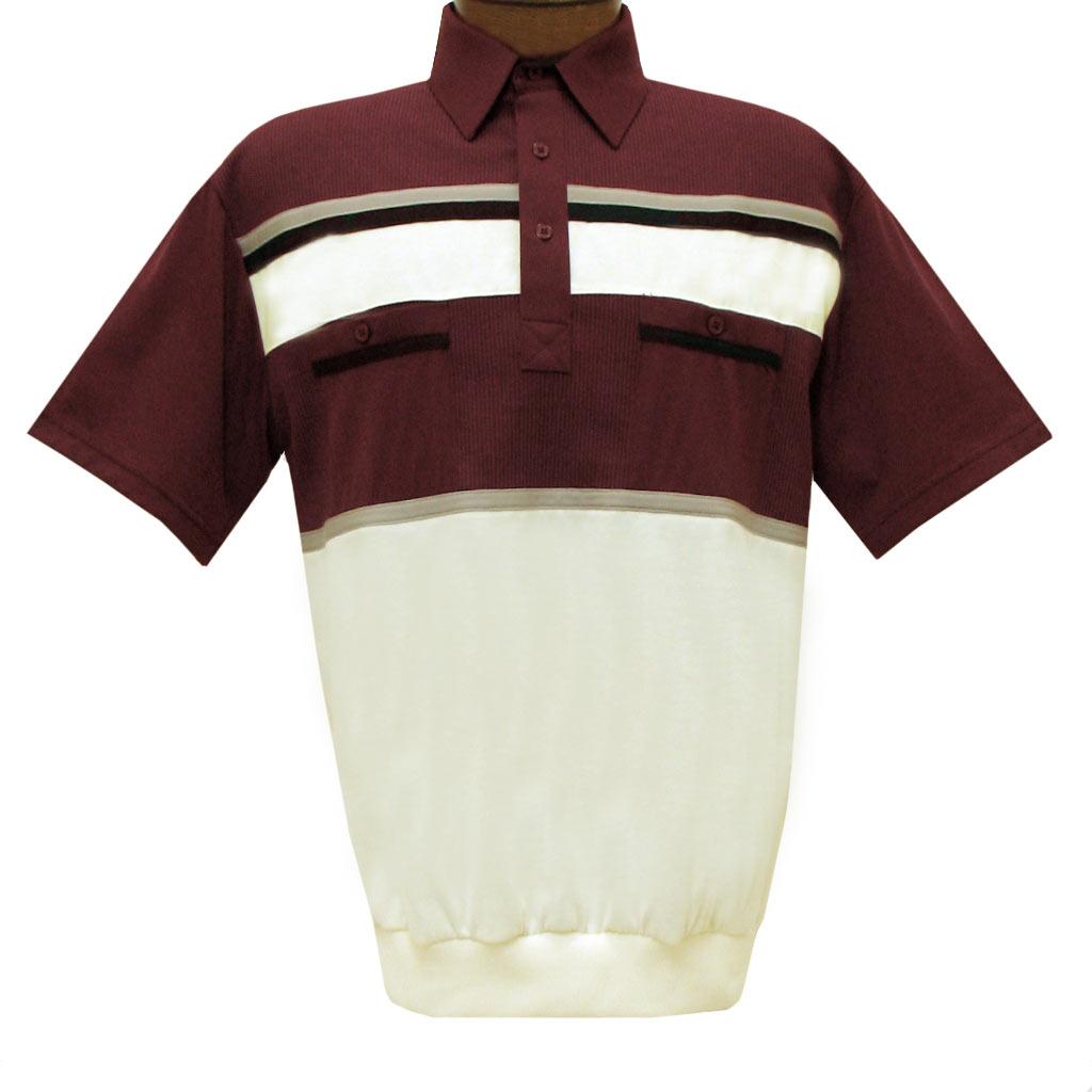 Men's Classics By Palmland Short Sleeve Horizontal Pieced Knit Banded Bottom Shirt #6010-120 Burgundy