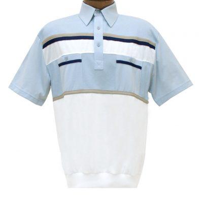 Men's Classics By Palmland Short Sleeve Horizontal Pieced Knit Banded Bottom Shirt #6010-120 Light Blue