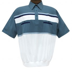 Men's Classics By Palmland Short Sleeve Horizontal Pieced Knit Banded Bottom Shirt #6010-120 Marine Blue