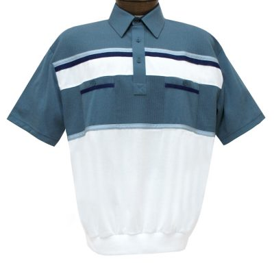 Men's Classics By Palmland Short Sleeve Horizontal Pieced Knit Banded Bottom Shirt #6010-120 Marine Blue