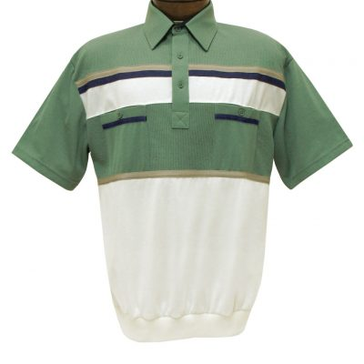 Men's Classics By Palmland Short Sleeve Horizontal Pieced Knit Banded Bottom Shirt #6010-120 Sage