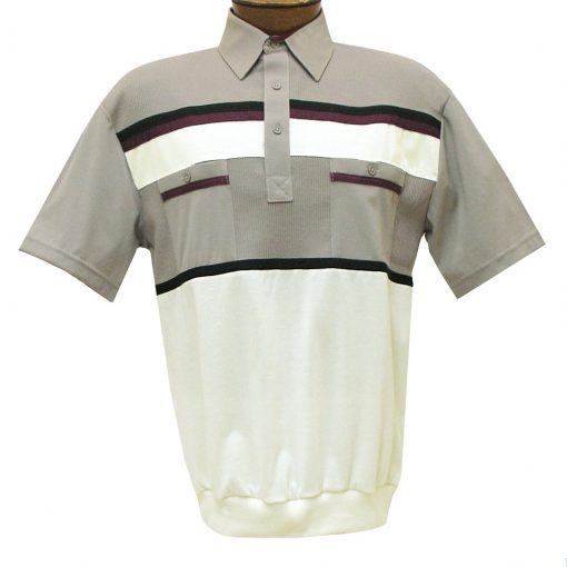 Men's Classics By Palmland Short Sleeve Horizontal Pieced Knit Banded Bottom Shirt #6010-120 Taupe