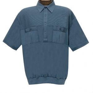 Men's Classics By Palmland Short Sleeve Pieced Knit Banded Bottom Shirt #6010-656 Marine
