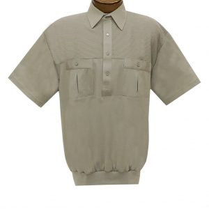 Men's Classics By Palmland Short Sleeve Pieced Knit Banded Bottom Shirt #6010-656 Taupe