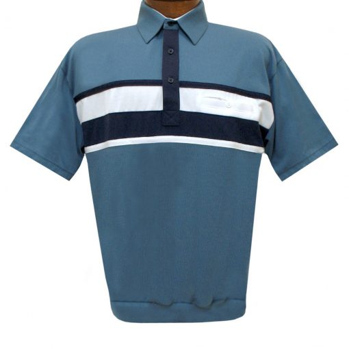 Men's Classics By Palmland Short Sleeve Horizontal Pieced Knit Banded Bottom Shirt #6010-BL12 Marine Blue