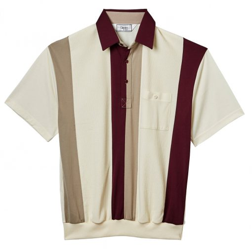 Men's Classics By Palmland Short Sleeve Vertical Pieced Knit Banded Bottom Shirt #6010-121 Burgundy