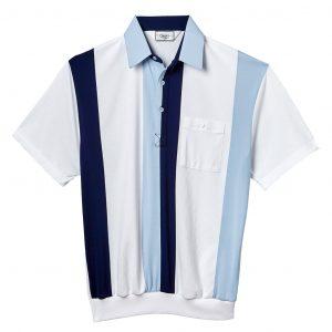 Men's Classics By Palmland Short Sleeve Vertical Pieced Knit Banded Bottom Shirt #6010-121 Light Blue