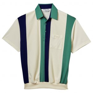 Men's Classics By Palmland Short Sleeve Vertical Pieced Knit Banded Bottom Shirt #6010-121 Sage