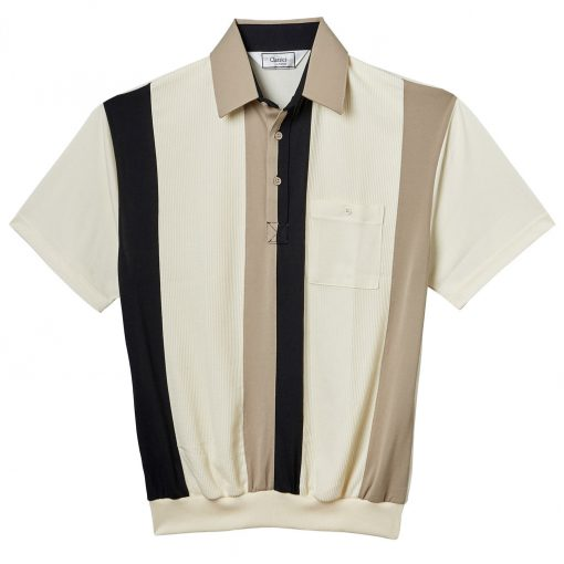 Men's Classics By Palmland Short Sleeve Vertical Pieced Knit Banded Bottom Shirt #6010-121 Taupe