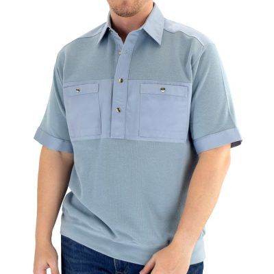 Men's Classics By Palmland Shikari Short Sleeve Knit Banded Bottom Shirt With Woven Chest Panel #6041-22 Chambray Blue