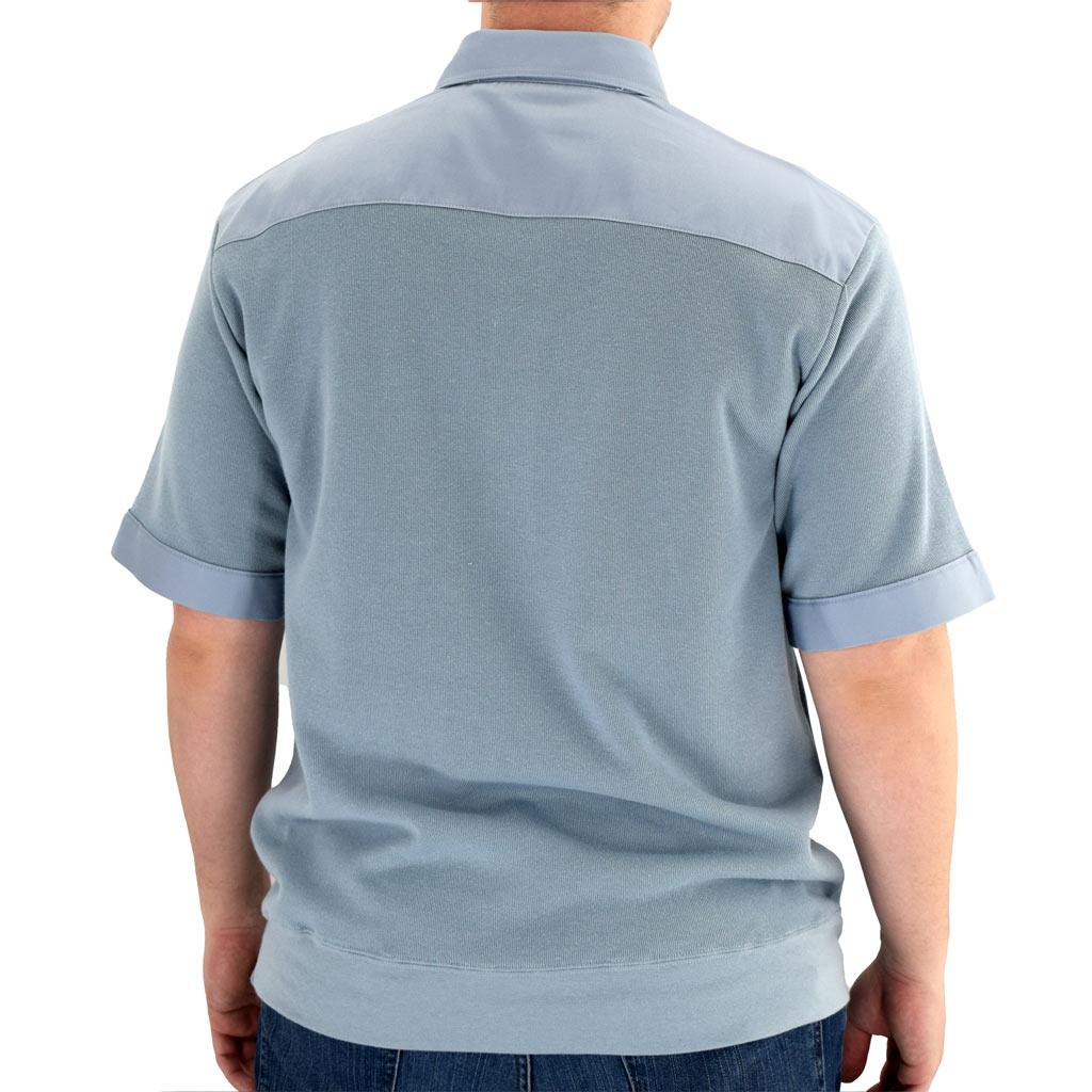 Men's Classics By Palmland Shikari Short Sleeve Knit Banded Bottom Shirt With Woven Chest Panel #6041-22 Chambray Blue
