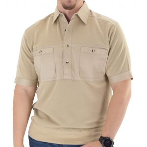 Men's Classics By Palmland Shikari Short Sleeve Knit Banded Bottom Shirt With Woven Chest Panel #6041-22 Heather Tan
