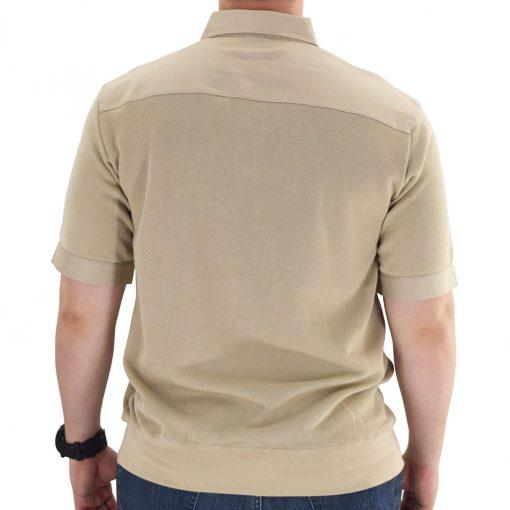 Men's Classics By Palmland Shikari Short Sleeve Knit Banded Bottom Shirt With Woven Chest Panel #6041-22 Heather Tan