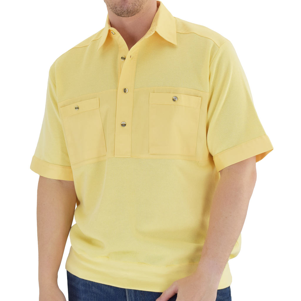 Men's Classics By Palmland Shikari Short Sleeve Knit Banded Bottom Shirt With Woven Chest Panel #6041-22 Maize