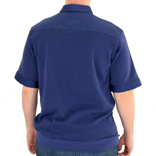 Men's Classics By Palmland Shikari Short Sleeve Knit Banded Bottom Shirt With Woven Chest Panel #6041-22 Navy