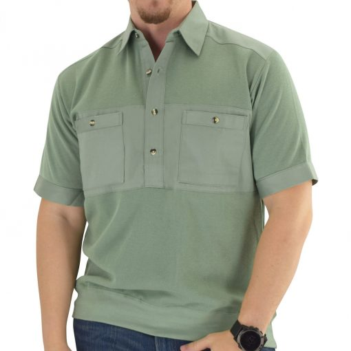 Men's Classics By Palmland Shikari Short Sleeve Knit Banded Bottom Shirt With Woven Chest Panel #6041-22 Sage
