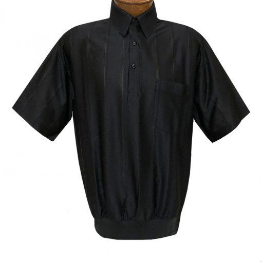 Men's LD Sport/Classics By Palmland Short Sleeve Tone on Tone Banded Bottom Shirt #6010-39 Black