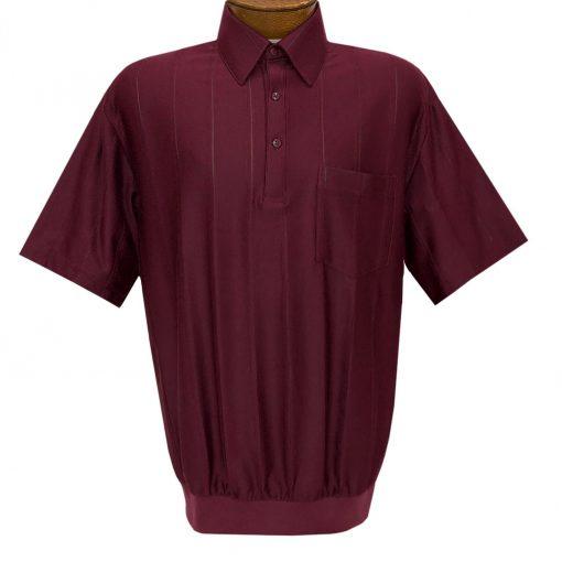 Men's LD Sport/Classics By Palmland Short Sleeve Tone on Tone Banded Bottom Shirt #6010-39 Burgundy