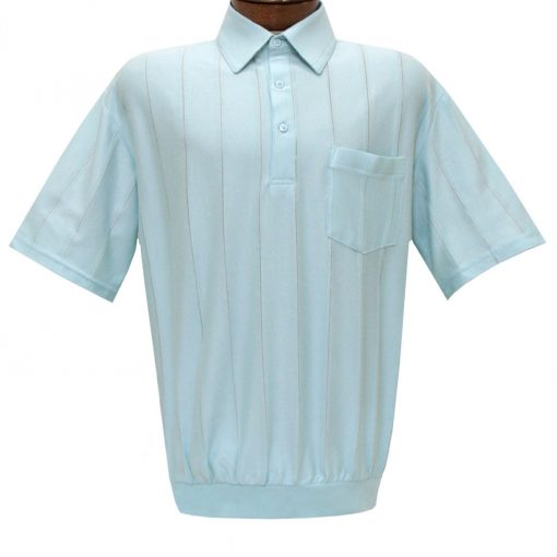 Men's LD Sport/Classics By Palmland Short Sleeve Tone on Tone Banded Bottom Shirt #6010-39 Light Blue