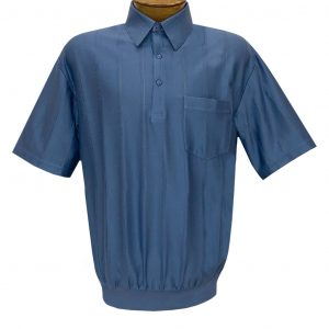 Men's LD Sport/Classics By Palmland Short Sleeve Tone on Tone Banded Bottom Shirt #6010-39 Ocean Blue