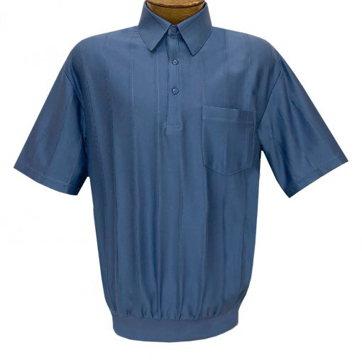 Men's LD Sport/Classics By Palmland Short Sleeve Tone on Tone Banded Bottom Shirt #6010-39 Ocean Blue