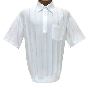 Men's LD Sport/Classics By Palmland Short Sleeve Tone on Tone Banded Bottom Shirt #6010-39 White